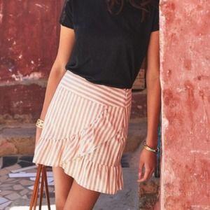 Sezane tan & white striped ruffle mini skirt